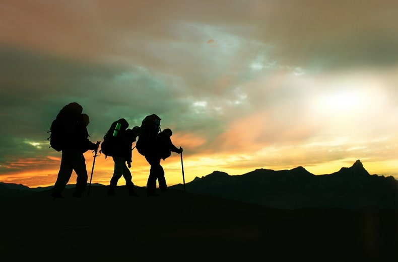 hikers at dusk