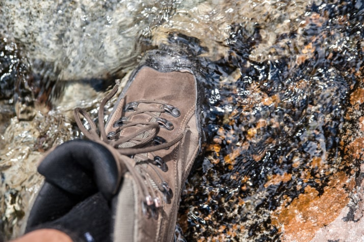 hiking shoe in the water