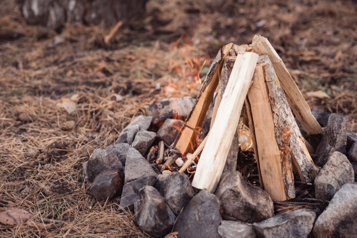 setting up a campfire