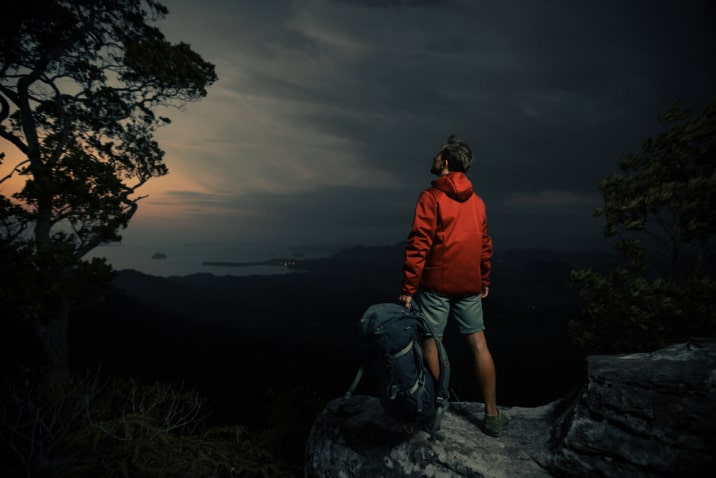 hiker on a cliff