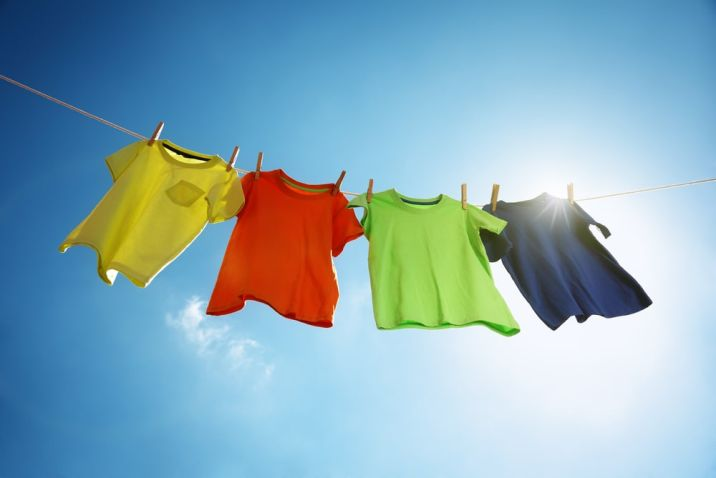 shirts on a clothesline