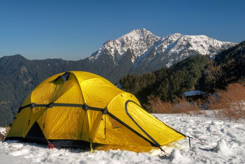 a tent in snow
