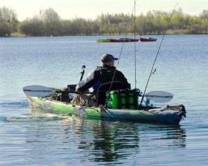 kayaker with cooler