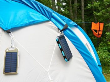 Solar chargers on a tent.