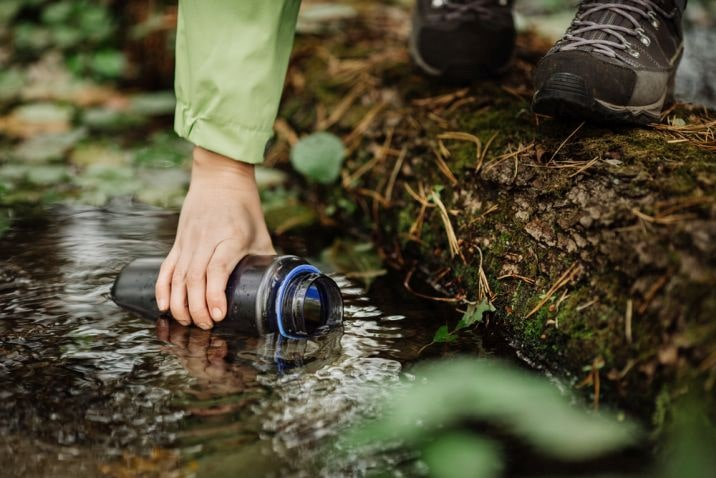 collecting water from a stream