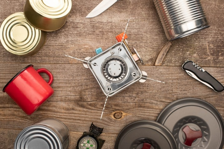 canned food and burner