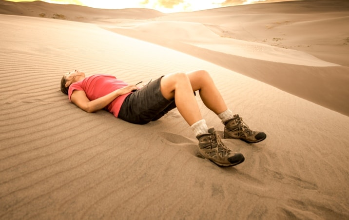 tired hiker after too much water
