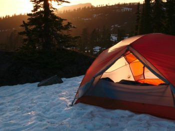 tent on winter snow