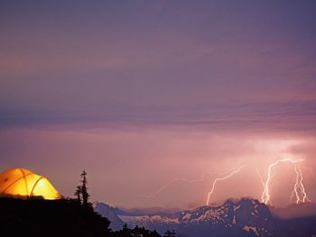 tent in a thunderstorm