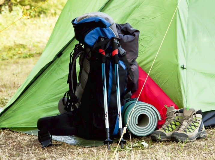 backpack and tent