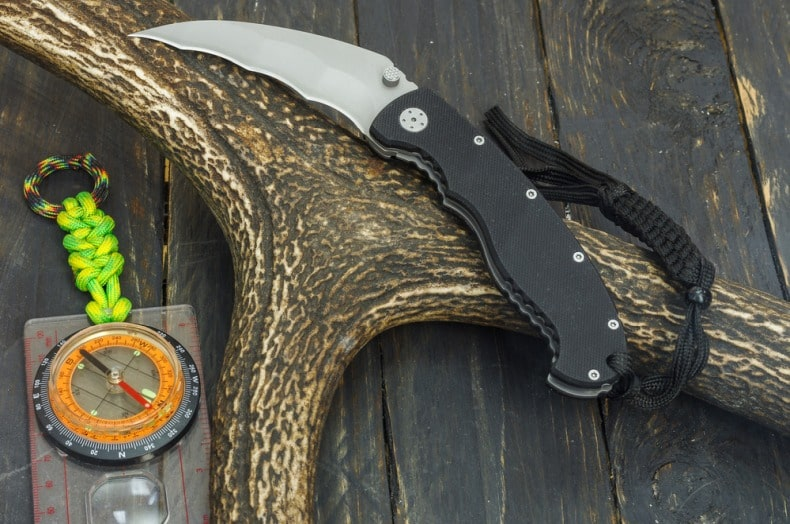 knife and an antler